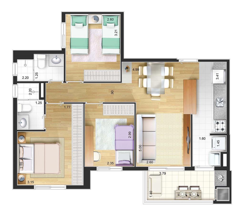 Perspectiva artística planta baixa tipo - 3 dorms 72 m²