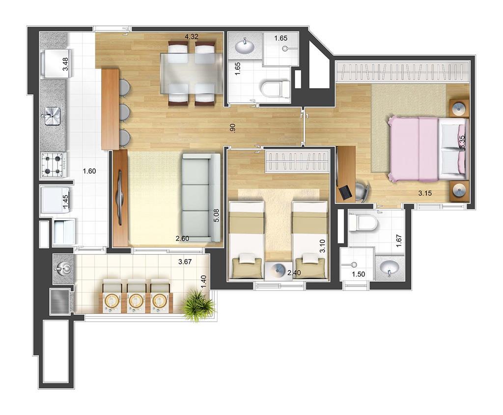 Perspectiva artística planta baixa tipo - 2 dorms 59 m²