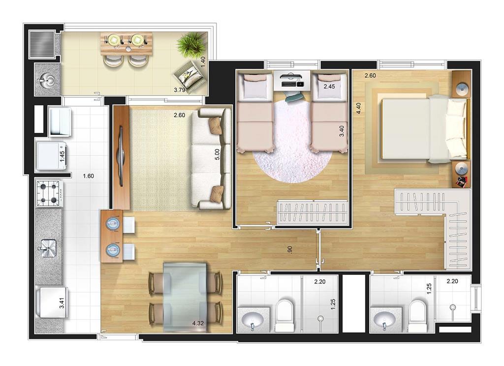Perspectiva artística planta baixa tipo - 2 dorms. 63 m²