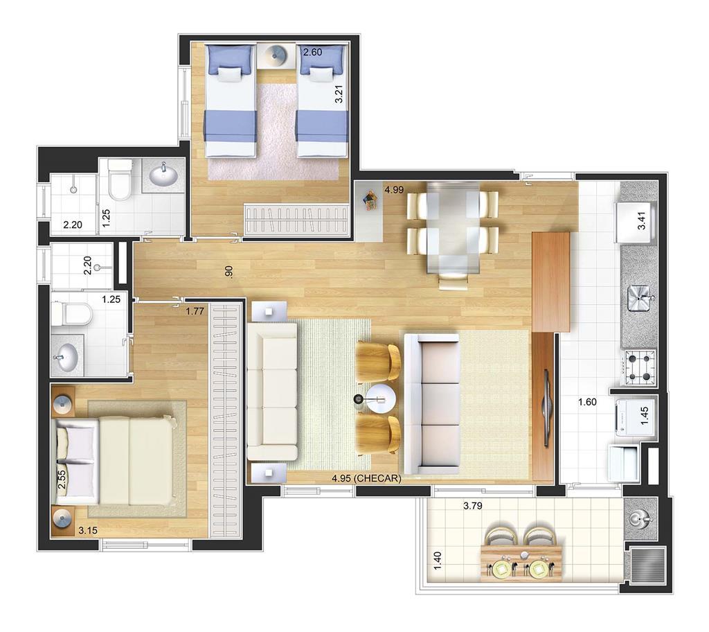 Perspectiva artística planta baixa tipo - 3 dorms 72 m² Living ampliado