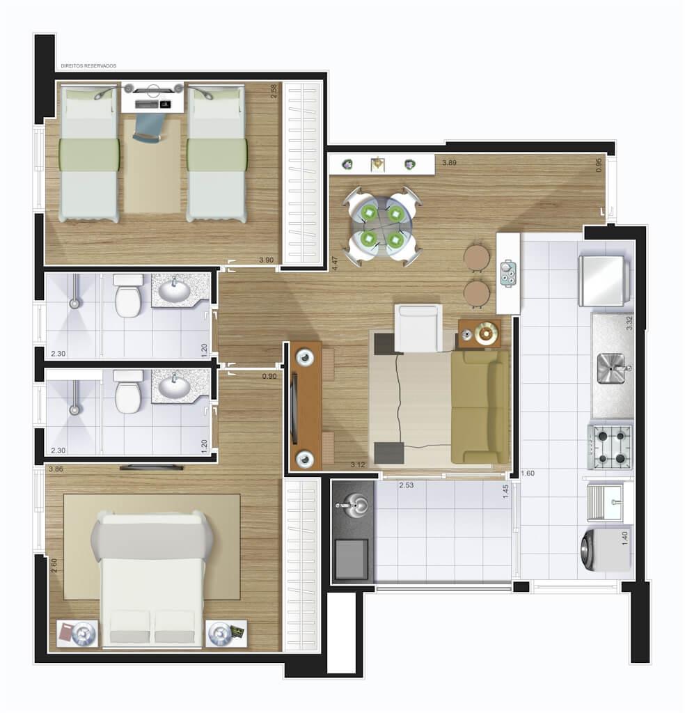 Perspectiva artística planta baixa tipo - 2 dorms (1 suíte) 62,37 m²