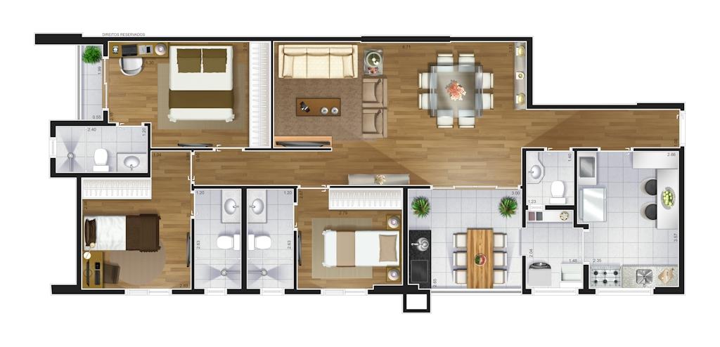 Perspectiva artística da planta baixa do apartamento de 105 m²
