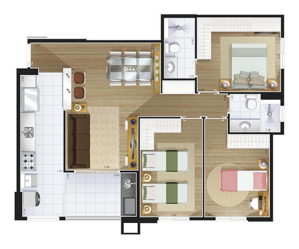 Perspectiva artística planta baixa tipo - 3 dorms (1 suíte) 82,15 m²