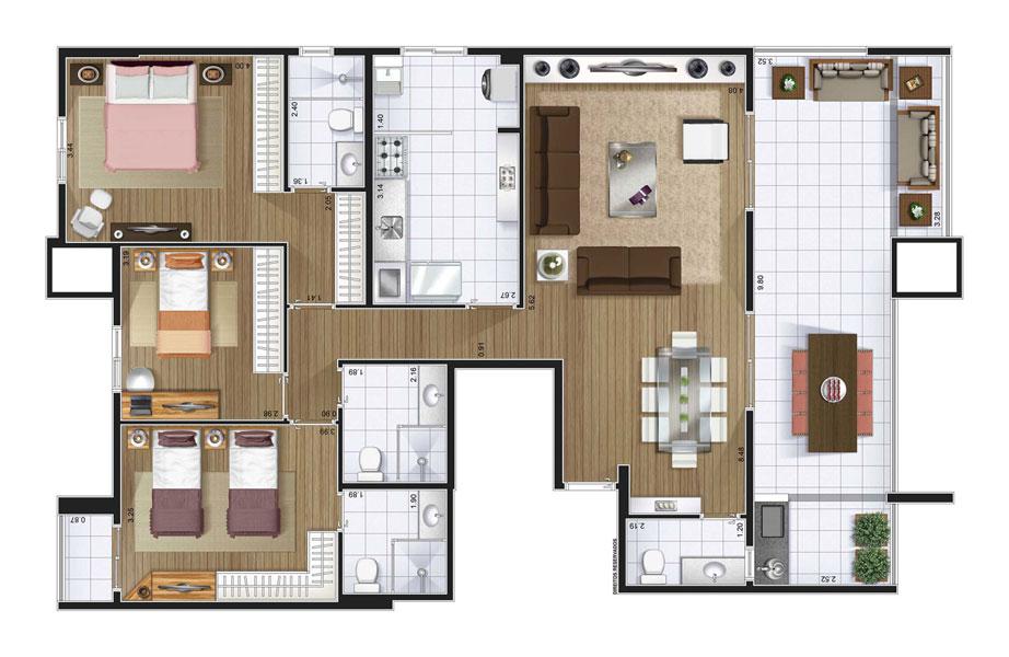 Perspectiva artística planta baixa cobertura - 3 dorms (1 suíte) 149,11 m²