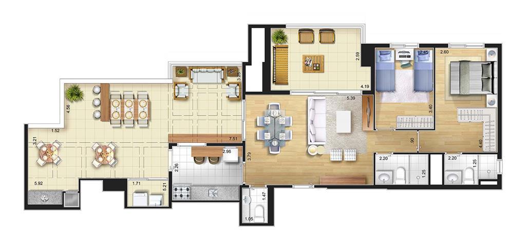 Perspectiva artística planta baixa cob. penthouse - 2 dorms 116 m²