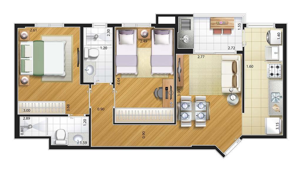 Perspectiva artística planta baixa tipo - 2 dorms (1 suíte) - Cozinha integrad
