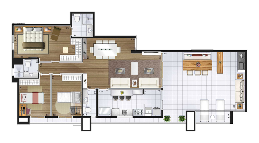 Perspectiva artística planta baixa cobertura - 3 dorms (1 suíte) 129,07 m²