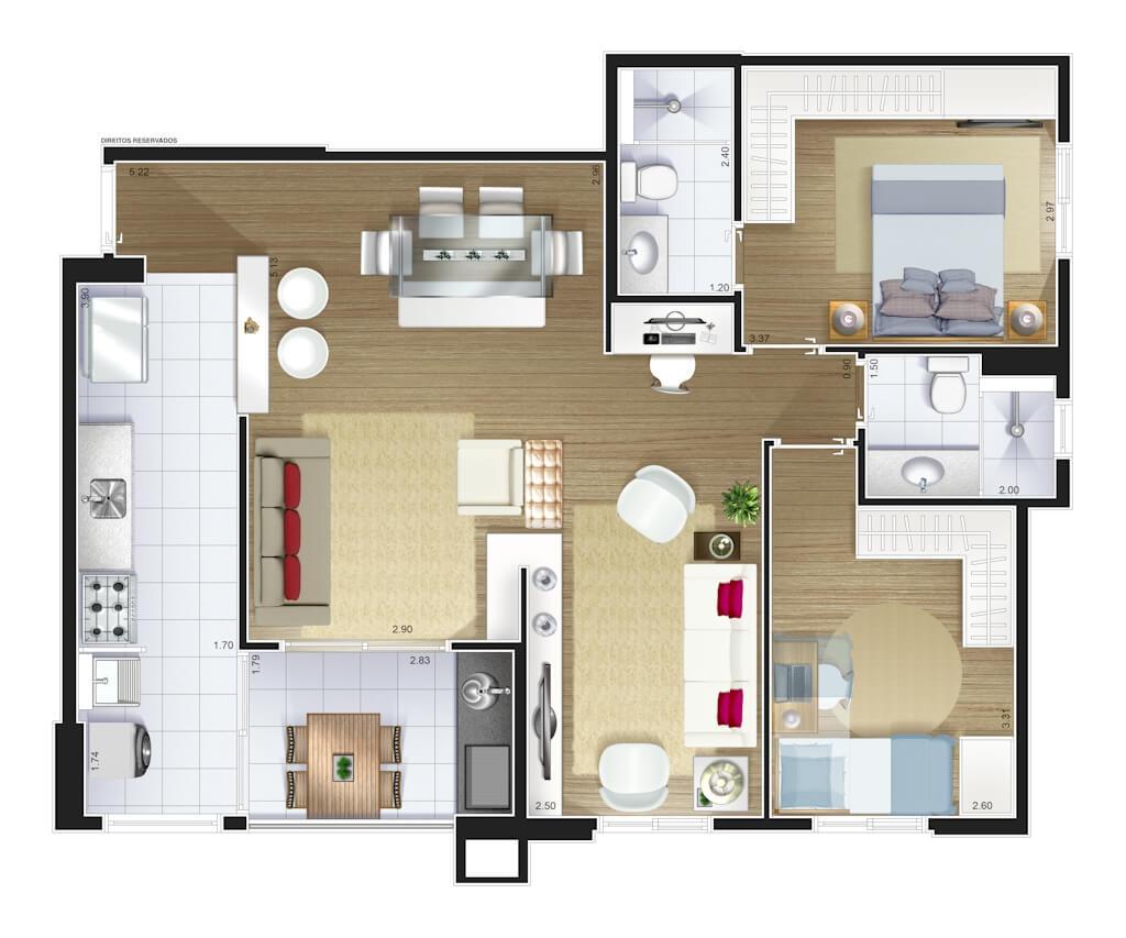 Perspectiva artística planta baixa tipo - 2 dorms (1 suíte) 82,15 m²