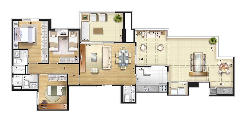 Perspectiva artística planta baixa cob. penthouse - 3 dorms 127 m²