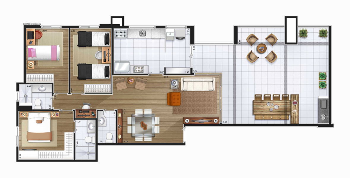 Perspectiva artística planta baixa cobertura - 3 dorms (1 suíte) 131,71 m²