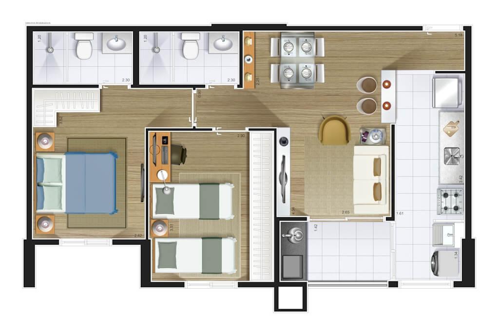 Perspectiva artística planta baixa tipo - 2 dorms (1 suíte) 61,47 m²