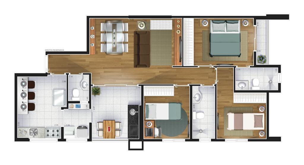 Perspectiva artística da planta baixa do apartamento de 87 m²